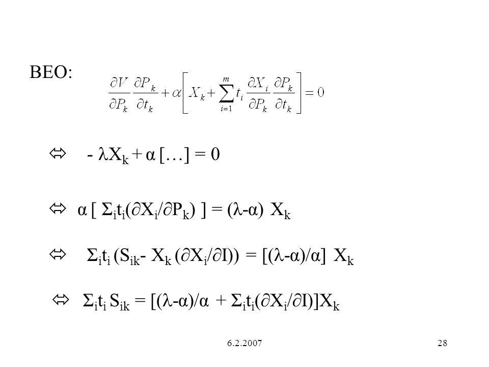  α [ Σiti(∂Xi/∂Pk) ] = (λ-α) Xk